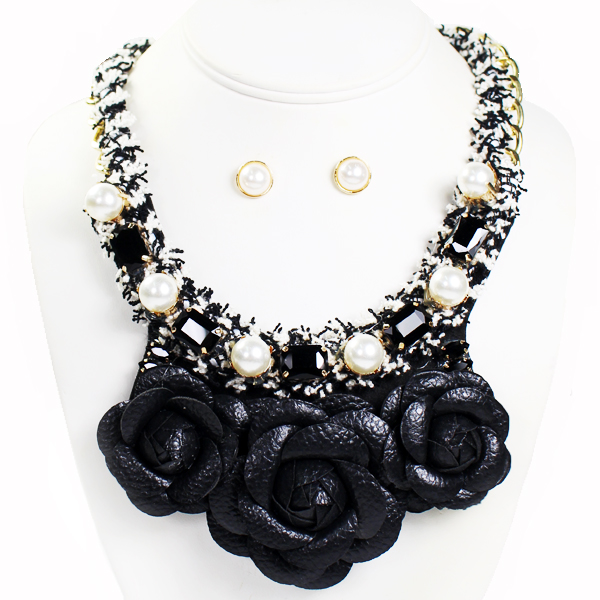 "FASHION FLOWER W STONE/PEARL NK SET18""(NT0547-MNE7014)"