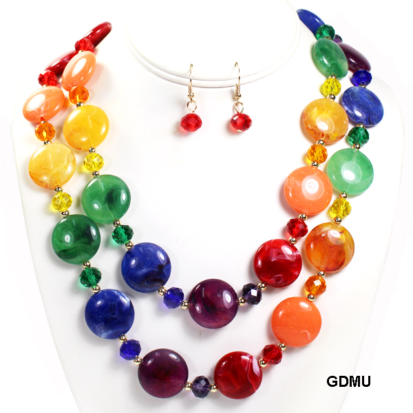 "FASHION GLASS BEAD NK SET18""(NT0553-MNE7193)"