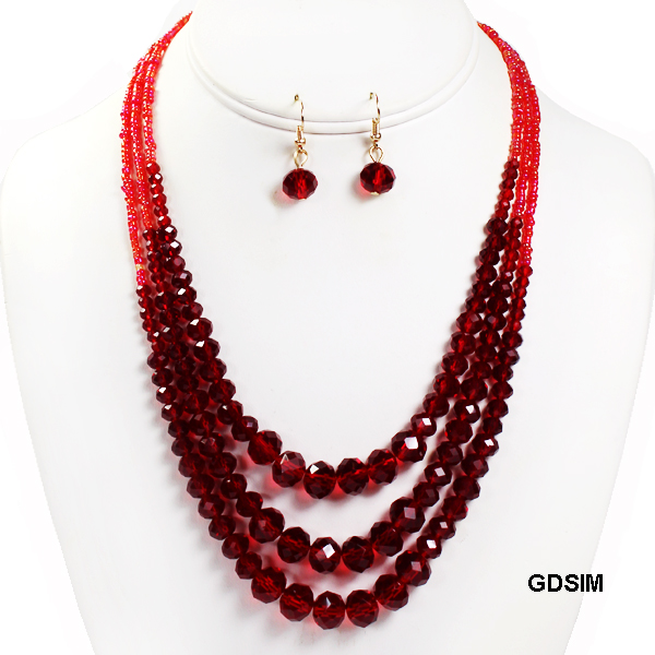 "FASHION LAYERED GLASS BEAD NK SET17""(NT0554-MNE7101)"