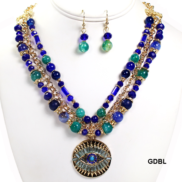 "FASHION GLASS BEAD W EVILEYE NK SET18""(NT0577-MNE6953)"