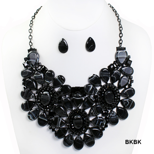 "FASHION MARBLE BEAD STATEMENT NK SET16""(NT058-MNE7134)"