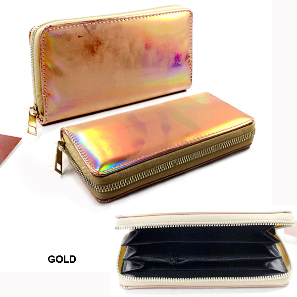 HOLOGRAPHIC SINGLE ZIPPER WALLET(WH0015-WA0045)